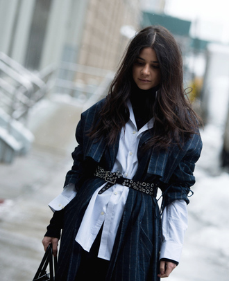 coat tumblr nyfw 2017 streetstyle fashion week 2017 fashion week blue coat stripes trench coat shirt white shirt belt top black top turtleneck black turtleneck top
