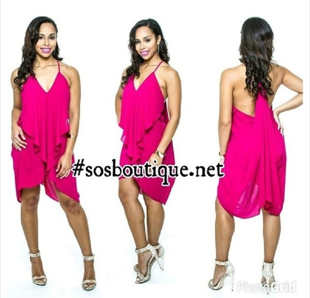 Dress: party dress, party, pink, hot pink, fashion, ruffle, casual ...