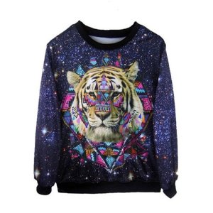 new Hoodies tiger head galaxy printed Pullover Fashion sweatshirt damen Tops plus size: Amazon.de: Sport & Freizeit