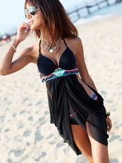 swimwear,bikini,chiffon,sarong,attached,glitzy,sequins,black,cover up,little black boots,jewels,sunglasses,dress,cute,bikini floaty,bathing suit top,cute bathing suit,black bathing suit,top,bikini bottoms,tankini,two-piece,bohemian,blue,pretty,pink,cross