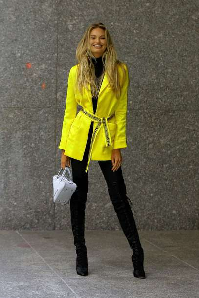 jacket romee strijd pants model off-duty blazer yellow boots fall outfits over the knee victoria's secret model