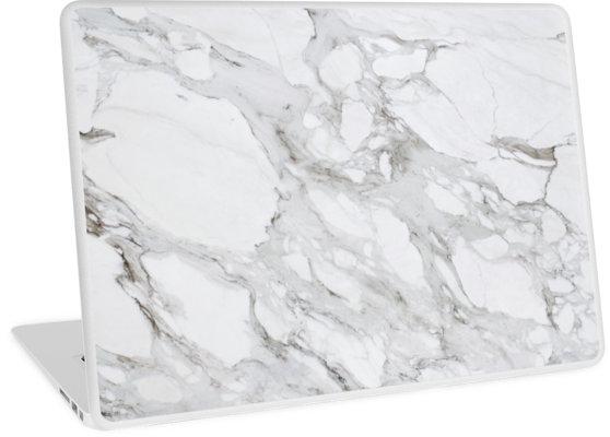 'White Marble' Laptop Skin by lollipoppi