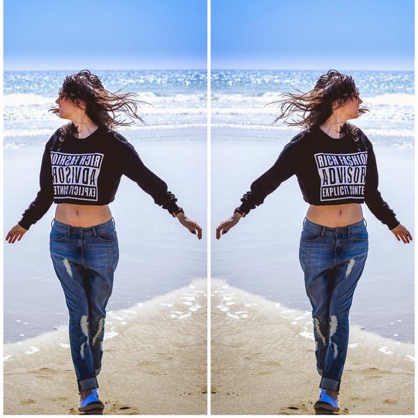 Shirt Fashion Beauty Style Sea Beach Sky Blue Jeans Top Fun Sunglasses Wheretoget