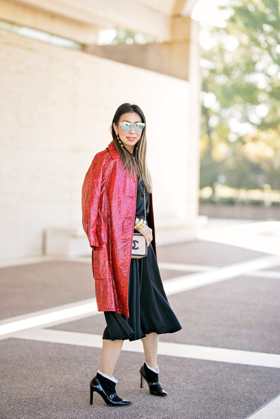 styleofsam blogger jacket top jumpsuit jewels belt shoes bag sunglasses fall outfits chanel bag red coat ankle boots