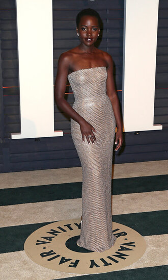 dress bustier dress strapless lupita nyong'o oscars 2015 red carpet dress gown