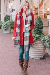 straight a style,blogger,jewels,dress,top,winter outfits,red coat,brown boots