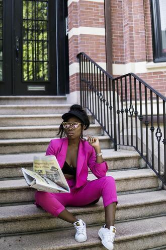locks and trinkets blogger shoes sunglasses cap blazer suit