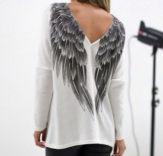 shirt white black grey winter sweater wings wings shirt white shirt black skirt tumblr outfit tumblr shirt tumblr skirt tumblr tumblr girl tumblr girls feathers feather grey sweater grey t-shirt