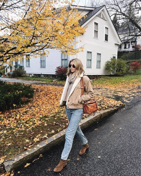 jacket tumblr corduroy nude jacket bag brown bag denim jeans light blue jeans boots brown boots sunglasses