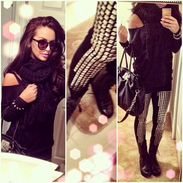 pants studs leggings blouse jeans rivets black