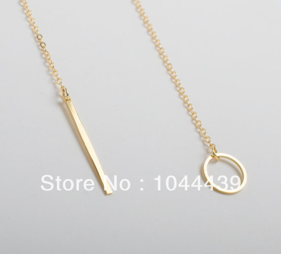 Gold Silver Necklace, Lariat , Dainty Necklace, Minimalist Necklace, Circle Necklace, Bridesmaids Gift, Birthday-in Chain Necklaces from Jewelry on Aliexpress.com | Alibaba Group