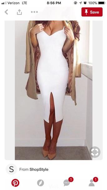 dress white white dress slit dress bodycon bodycon dress party dress sexy party dresses midi dress clubwear classy dress elegant holiday dress holiday season christmas dress