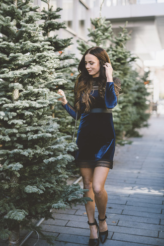 dress tumblr shorts black shoes ankle strap heels ankle strap mini dress long sleeves long sleeve dress blue dress velvet velvet dress winter date night outfit christmas dress christmas holiday season holiday dress new year dresses navy dress