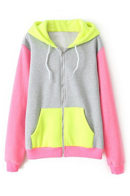 ROMWE | ROMWE Color Block Zippered Pink Coat, The Latest Street Fashion