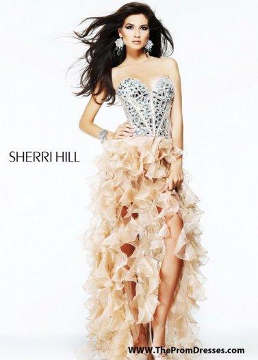 Rhinestone Corset Top Nude Ruffled Sherri Hill 1586 High Low Dress [Sherri Hill 1586 Nude] - $179.00 : Prom Dresses 2014 Sale, 70% off Dresses for Prom
