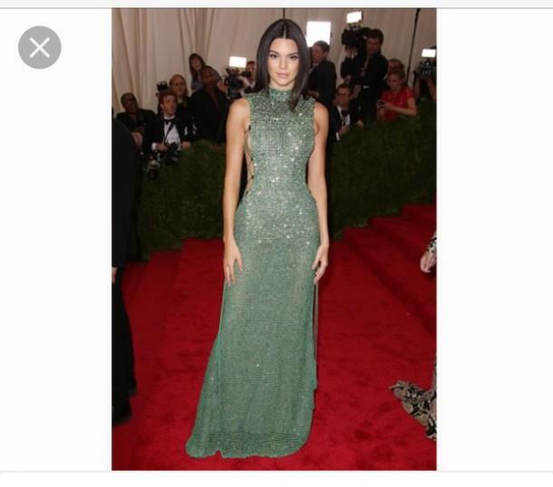dress, kendall jenner, calvin klein, green, sequin dress, gown, met ...