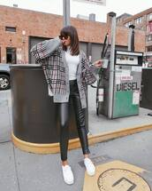 shoes,white sneakers,platform sneakers,pants,black pants,skinny pants,leather pants,cardigan,knitted cardigan,blouse,sunglasses