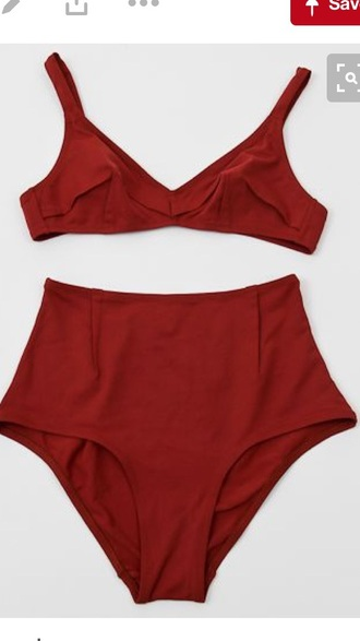 swimwear red high waisted bikini cute 50s style