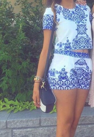 romper bue floral cute summer dress style hot two-piece