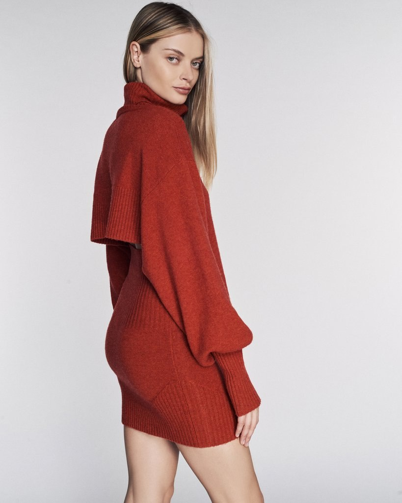 Sloane Cashmere Blend Turtleneck Sweater in Paprika
