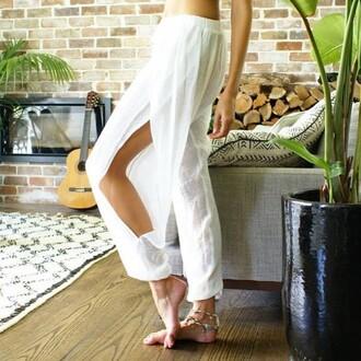 pants white pants divergence clothing harem pants boho