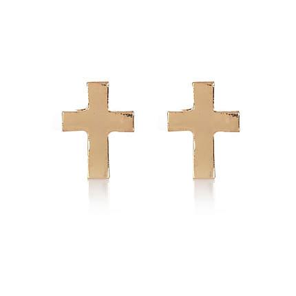 Gold tone cross stud earrings