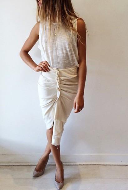 skirt white skirt heels