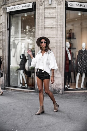 blouse shorts hat tumblr white blouse denim denim shorts black shorts boots ankle boots nude boots felt hat shoes