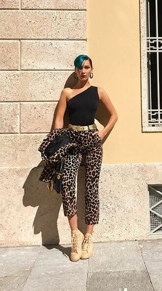 pants bella hadid milan fashion week 2017 instagram animal print top belt one shoulder blazer model off-duty jacket