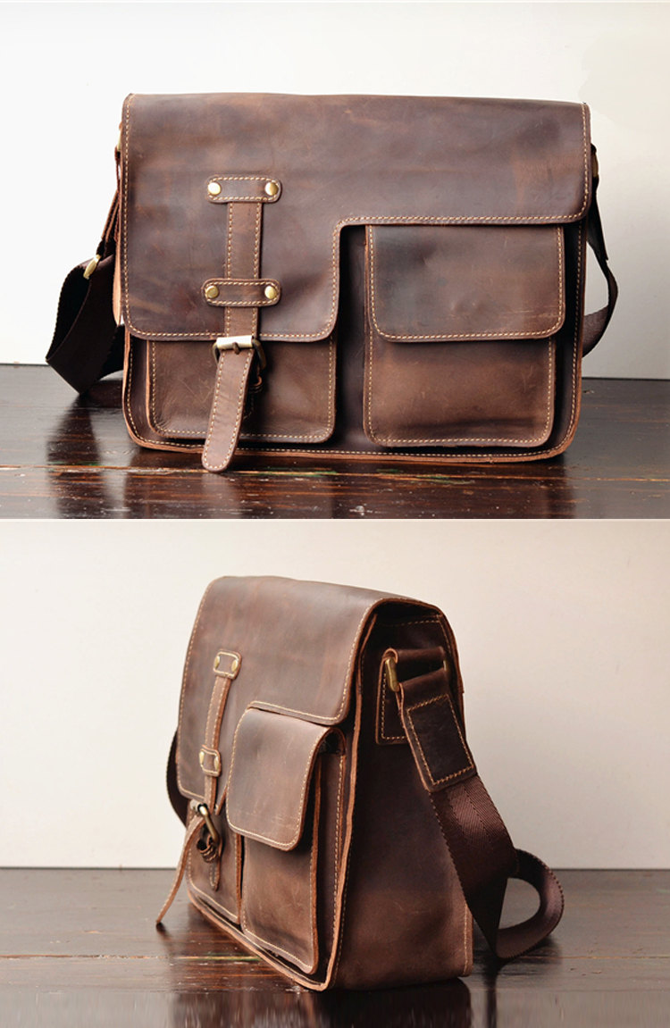 Simple Leather Briefcase - Messenger Bag - Leather Laptop - Men's Bag - Leather Case--T71 on Luulla