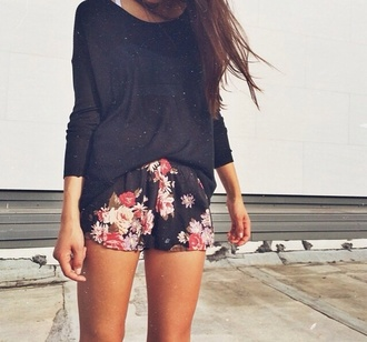 shorts black summer outfits blouse floral fashion flowers red rose pink chiffon shorts blogger mini shorts spring summer cute floral print shorts drawstring elastic waist sweater flowered shorts girly shirt nightwear top