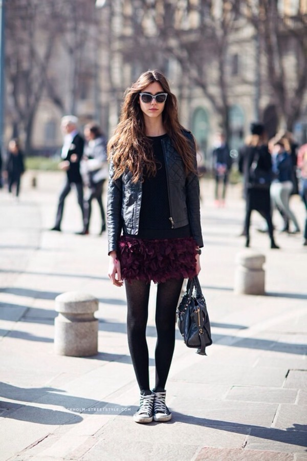 jacket skirt bag shoes leather jacket