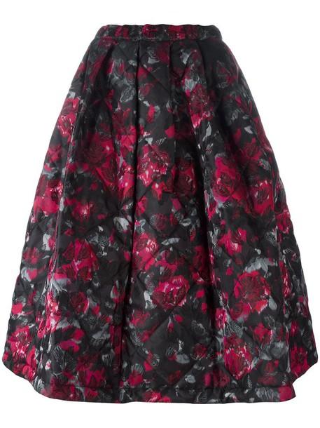 Comme des garcons skirt women floral print black silk