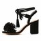 Black tassel detail ankle lace up block heeled sandals