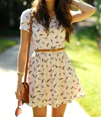 dress birds bag sunglasses light brown belt white