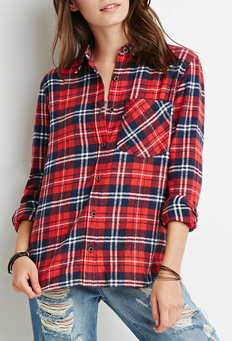 Plaid flannel shirt forever 21 sweater vest for Womens christmas flannel shirt