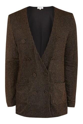 blazer metallic copper jacket