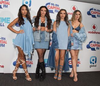 underwear bra bralette denim jacket denim skirt denim dress all denim little mix jade thirlwall perrie edwards leigh-anne pinnock jesy nelson dress asymmetrical dress all denim outfit