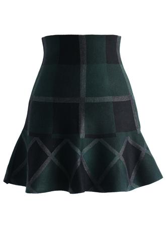 skirt green plaid knitted skater skirt chicwish skater skirt plaid skirt knitted skirt green plaid skirt