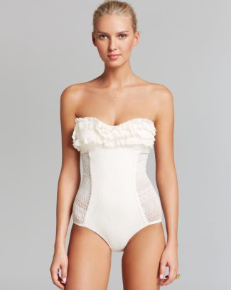 Juicy Couture Prima Donna Ruffle Bandeau Maillot One Piece Swimsuit | Bloomingdale's