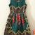 Green Sleeveless Vintage Floral Flare Dress