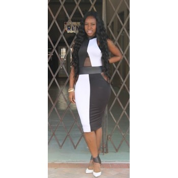 Dominoes Midi Dress Black & White