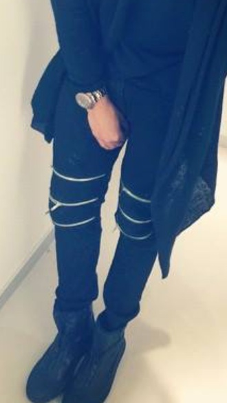 pants leather zipper pants