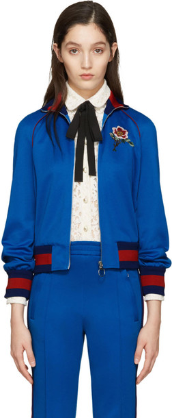 gucci jacket embroidered blue