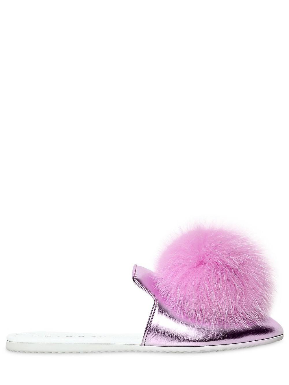 JOSHUA SANDERS Metallic Leather Mules W/ Fox Pompoms in pink