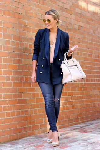 the courtney kerr blogger blazer navy nude high heels aviator sunglasses