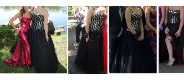 dress black ball gown silver ball gown prom dress black dress silver dress black silver one-shoulder tulle dress tulle skirt