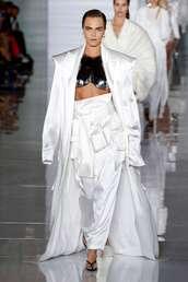 pants,cara delavigne,balmain,fashion week,runway,model,coat,crop tops