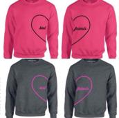 sweater,pink sweater,grey sweater,bff,heart,shirt,pink