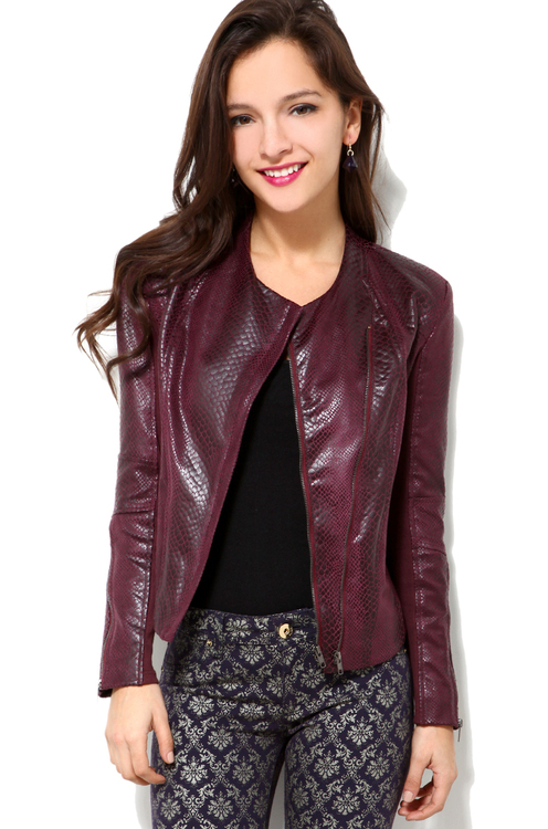 Bias Zip Faux Leather Jacket in Burgundy